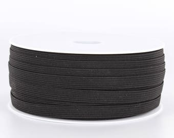 Black 10 mm flat braided elastic