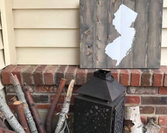 21x17 Wood State Wall Art -New Jersey, NJ Silhouette Sign
