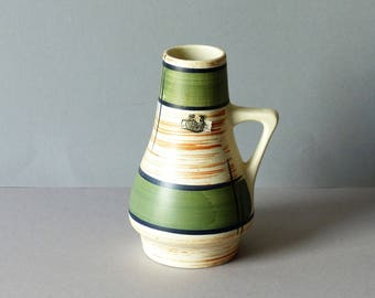 Vase by Bay, West Germany, cream with olive green color, WGP model 270-17, sixties, vintage, retro