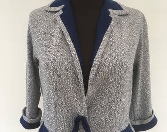 Vintage 1960's - Blue Patterned Jacket By TRICOSA PARIS - Approx UK Size 12.