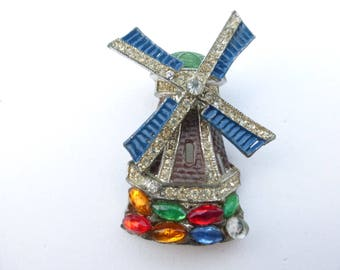 Mechanical Windmill brooch pot metal rhinestones and enamel AA573