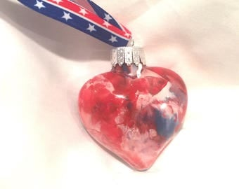 Inside Marble Red White Blue Swirl Painted Patriotic Glass Heart  Ornament Star Ribbon