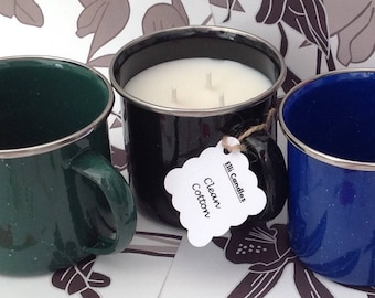 Handmade scented candle. 3 wick candle in enamel mug with the fragrance of Clean Cotton.