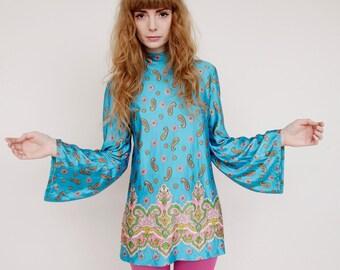 Vtg 1960's Psychedelic Mod GoGo Silky Paisley Tunic Mini Dress Wizard Sleeves SZ S