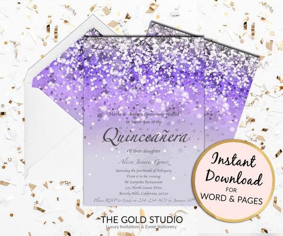 Mis 15 Anos Bracelet: Purple Quinceañera Invitation Lilac Mis Quince Anos Print At