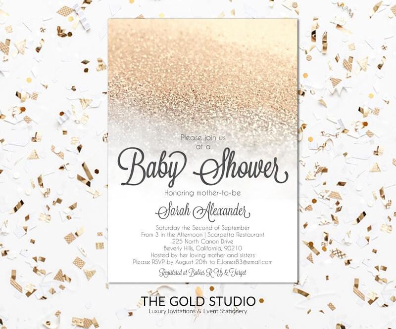White & Gold Glitter Baby shower Invitation | Modern Glamorous ...