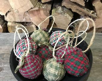 Rag Ball Ornaments/Prim Ornaments/Bowl Fillers/Christmas Ornaments