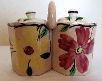 Arthur Wood Vintage Jam Pot And Marmalade Pot. Pretty Twin Preserve Pot With Hand Painted Flowers. Great For Breakfast Or Vintage Tea Party