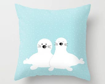 Baby seal Pillow Sham Cases Cozy Personalized Nautical Bedding Fish Polar Pets Marine Elephant Lion Nursery Gift for Kids Bedroom designer