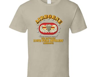 Army - 3rd Bn 319th Field Artillery Rgt - Airborne W Oval T-shirt