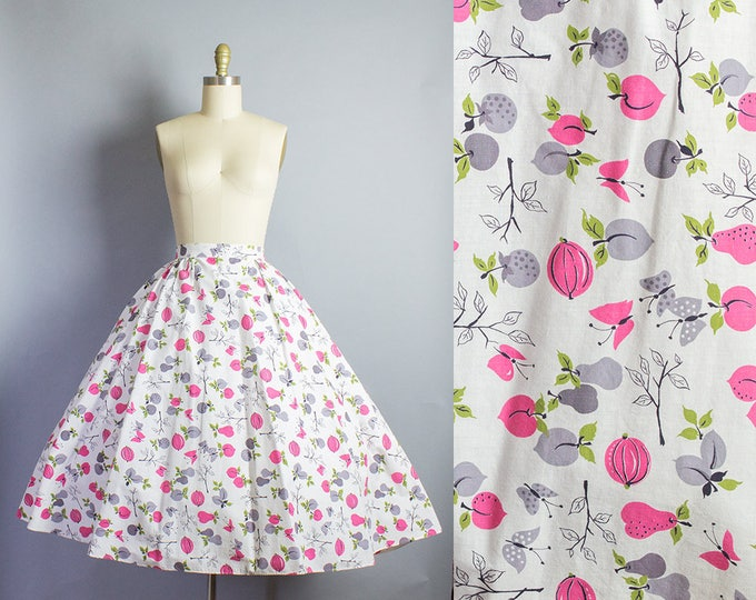 1950s Fruit Print Novelty Skirt/ Medium (29W/29L)