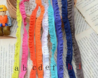 2 Yards Cotton Blue Pink Orange Yellow White Lace Trim Frill Ruffle Fringe Piping Curtain Lace Trim 1.2cm Wide