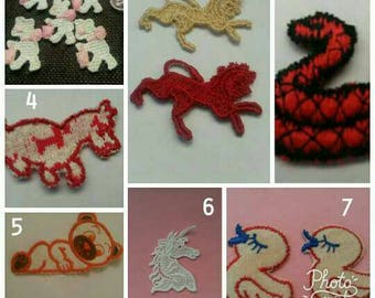4 Pieces Dog Snake Bear Lion Unicorn Sew On Applique Animal Patch Motif Clothing Craft Clothing Apparrel Applique