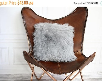 ON SALE Gray Sheepskin Pillow | Gray Pillow | Gray Fur Pillow | Shaggy Pillow | Gray Cushion | Sheepskin Pillow | Sheepskin Cushion