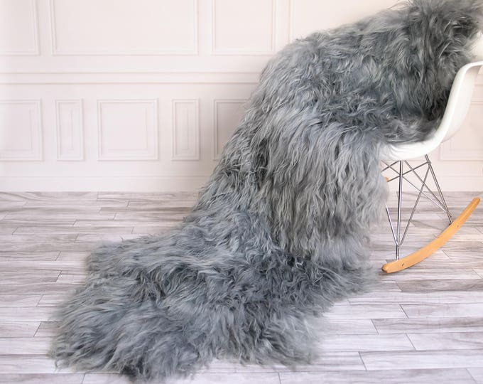 Double Icelandic Sheepskin Rug | Long rug | Shaggy Rug | Chair Cover | Area Rug | Gray Rug | Carpet | Gray icelandic Sheepskin