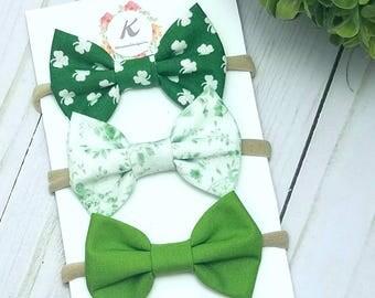 St. Patrick's day bow set, shamrock bow, green floral bow, green bow, st. Patrick's day bows, nylon bow set, baby girl headbands, hair bows