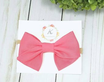 Bubble gum pink hand tied bow, bubble gum pink bows, pink bows, nylon headbands, baby girl headbands, pink hair bows, hand tied bows, bows