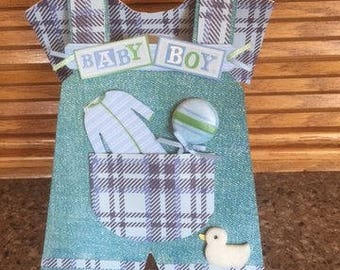 Perfect card for any Baby Boy shower.  Custom handmade with embellishments