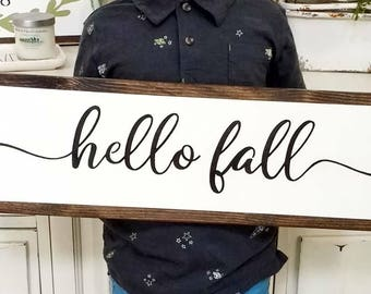 Hello Fall Sign, Autumn Decor, Fall Decor, Seasonal Home Decor, Fall Home Decor, Fall Wood Sign