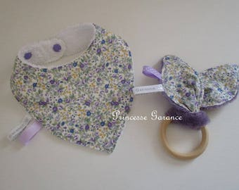 Mini baby box - bandana bib + rattle bunny ears * in stock *.