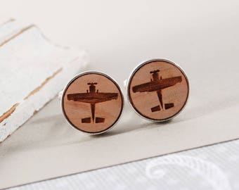 CUSTOM CUFFLINKS PILOT engraved solid Beech wood, ready to give, gift box, plane, perfect gift for pilot, aviation, hobby