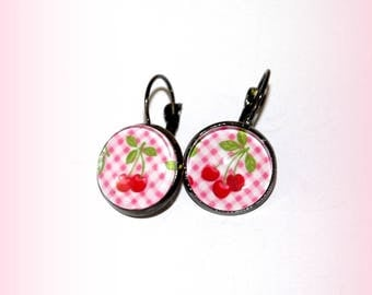 Pink round earrings cherries and gingham