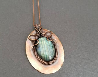 Copper Wire Wrapped Labradorite Pendant Necklace