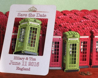 Save the Date wedding Wedding Invitation Cards Custom Wedding London Telephone Booth cards Personalized Cards London Unique Wedding Red