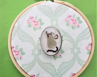 Handmade cross stitch ring little mice