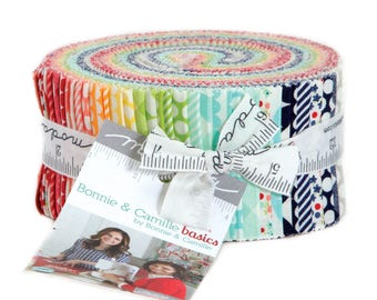 Bonnie and CamilleBasics Jelly Roll 2.5inch Strips Quilting Cotton Fabric Moda Fabrics Red, Blue, Black, Green, Pink Floral, UK Seller