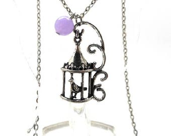 Necklace silver bird and its purple natural Pearl