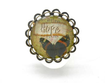 Ring bronze cabochon light green Butterfly