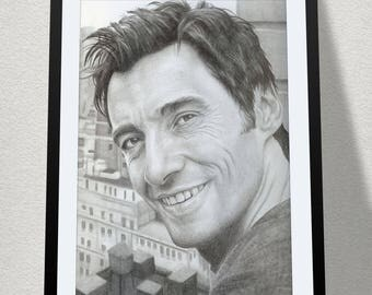 "11.69"" x 16.53"" drawing of Hugh Jackman in graphite on Bristol paper"