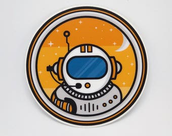 Astronaut Sticker for Laptop, Sticker for Yeti Cup, Space Sticker, Cute Laptop Stickers, Circle Sticker, Gift for Him, Tumblr Stickers