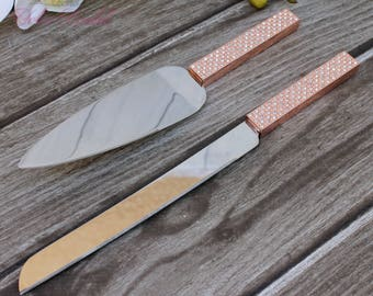 FAST SHIPPING!! Rose Gold Swarovski Crystal Cake Knife and Server Set, Wedding Cake Server and Knife, Rose Gold Cake Server and Knife