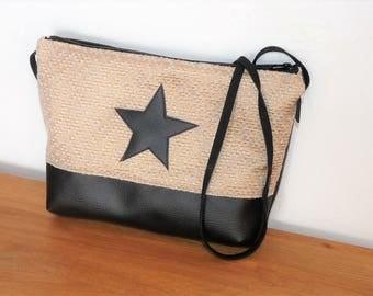 Messenger bag shoulder bag black faux leather, Golden silk and star black leather Messenger