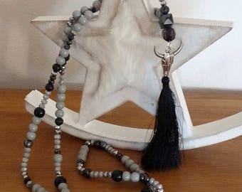 Necklace long Buffalo head, wooden beads black/silver/gray, black tassel