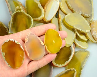 "ONE piece Agate Slices Stone Slab - 2""-3""- for Wedding Name Cards Namecards Place Cards - Yellow"