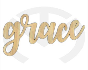 Unfinished Wood Calligraphy Script Word Grace Laser Cut, Large Sizes, Home Decor, Gallery Wall, Family Room, Farmhouse