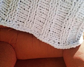 Sky Blue Lap Blanket/Baby Blanket/Ribbed Chunky Knit Throw Blanket