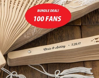 Personalized Rustic Sandalwood Wedding Fans (Pack of 100) Wedding Favors