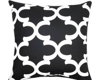 SALE Black Pillow Cover - Moroccan Tile Pillow Cover - Fynn Black Accent Pillow - Black Quatrefoil Decorative Pillows - Black White Pillow C