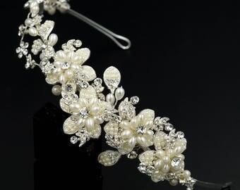 Bridal Flower Crown,Pearl Wedding Tiara,Silver Wedding Headband, Floral Bridal Tiara, Flower Crown,Silver Wedding Headband HMH00399