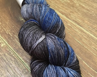 Hand Dyed Superwash Merino Nylon Sock Yarn, 100g/3.5oz, 'Leather and Jeans'