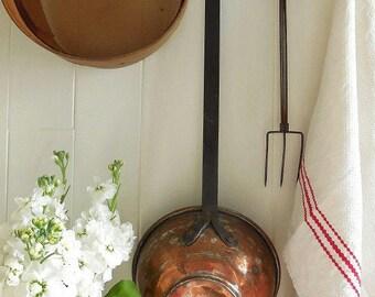 Huge vintage handmade French copper ladle