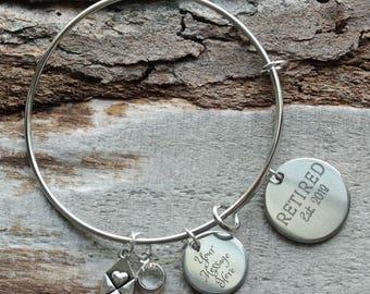 Retired Established Year Personalized Wire Adjustable Bangle Bracelet