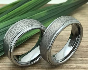 His & Hers Celtic Knot Rings, Tungsten Rings,Personalized Custom Engrave Tungsten Ring, Comfort Fit, Celtic Knot Rings,FREE ENGRAVING
