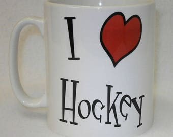 I Love Heart Hockey Mug Can Be Personalised Great Ice Sports Fan Team Player Gift