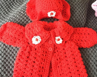 Newborn red baby girl crochet coat and hat or for reborn doll