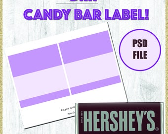 chocolate bar label template - candy bar etsy
